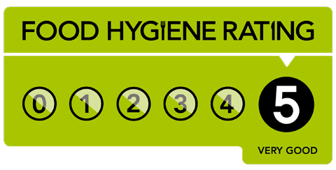 Our food hygiene standards have been rated 5/5 by the Food Standards Agency.