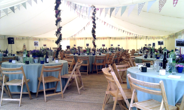 A marquee set up for a beautiful wedding meal!