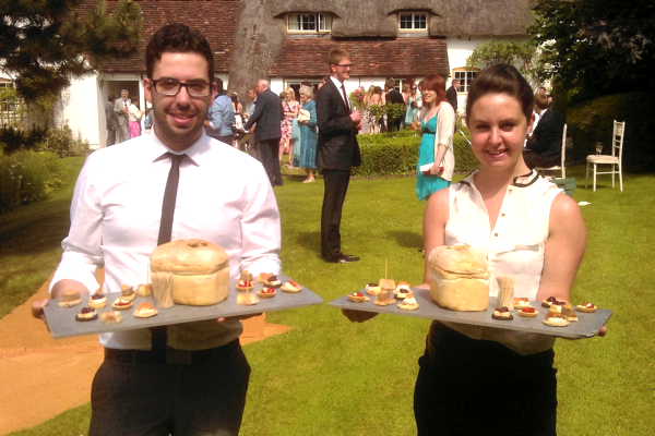 Two of our staff cater for the guests at a recent wedding event!