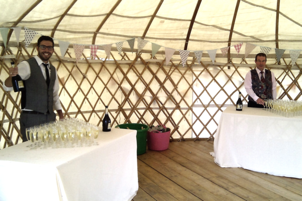 Our staff set up and ready to dispense Champagne to the thirsty guests at a wedding reception!